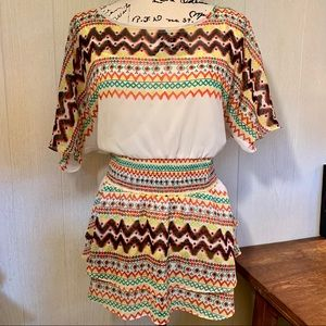 Beige by Eci Aztec Print Fit and Flare Top